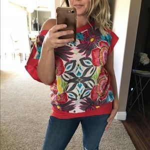 DESIGUAL Red Floral Print Blouse W Elastic Waist